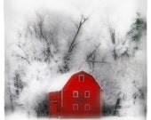 Country winter, 4x4 inches, Original, Signed, Fine Art photograph, Winter barn, red barn, gift under 20, winter landscape - dahliahousestudios