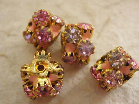 Vintage Beads (2) Earring Perfect Pink and Lavender Enamel and Crystal Super Rare Beads