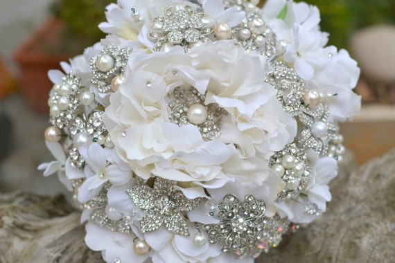 Peony rhinestone and pearl brooch wedding bridal bouquet -- deposit on a made to order brooch bouquet