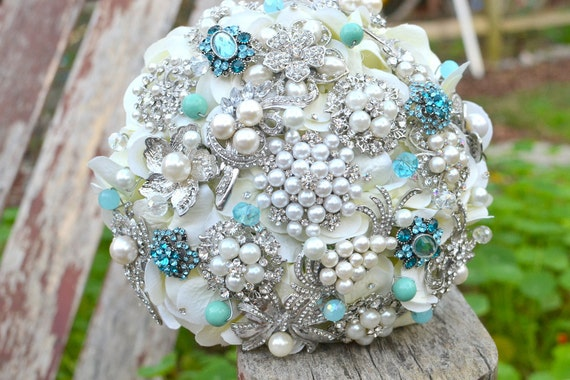 Deposit on Tiffany blue brooch wedding bridal bouquet --made to order bridal bouquet