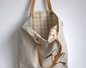 "Tote bag book bag everywhere natural linen with leather handles with applique bird 14""x 15"" - DonataFelt"