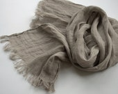 Scarf women men natural linen grey shade spring summer autumn fall fashion eco friendly - DonataFelt