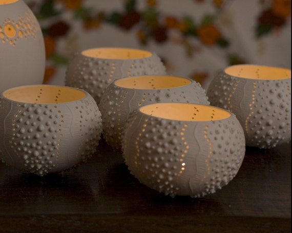 Porcelain Tea light Delight. Candle Holder N.2. Ceramic urchin. Designed and crafted by Wapa Studio.
