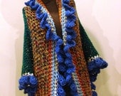 Bohemian Style Wrap Shawl Green with Mix and Blue Ruffle - Adjusts One Size Fits Most - CherokeeDreams