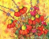 Mimosa Sky Flowers Signed Print - blendastudio
