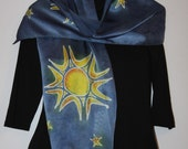 Handpainted Silk Scarf   Sun and Stars    Midnight Blue - ShawnjeanneOriginals