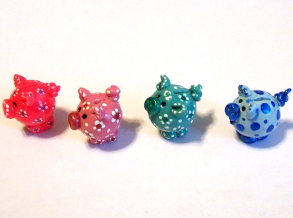 Piggy Ball Bank or Charm - New Original Design Handcrafted Mini Toy OOAK 1:12 Scale