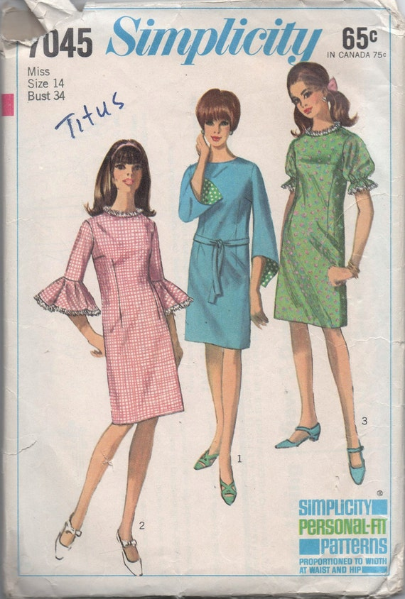 1960s VINTAGE pattern Simplicity 7045 size 14 bust 34 misses one piece dress Mad Men
