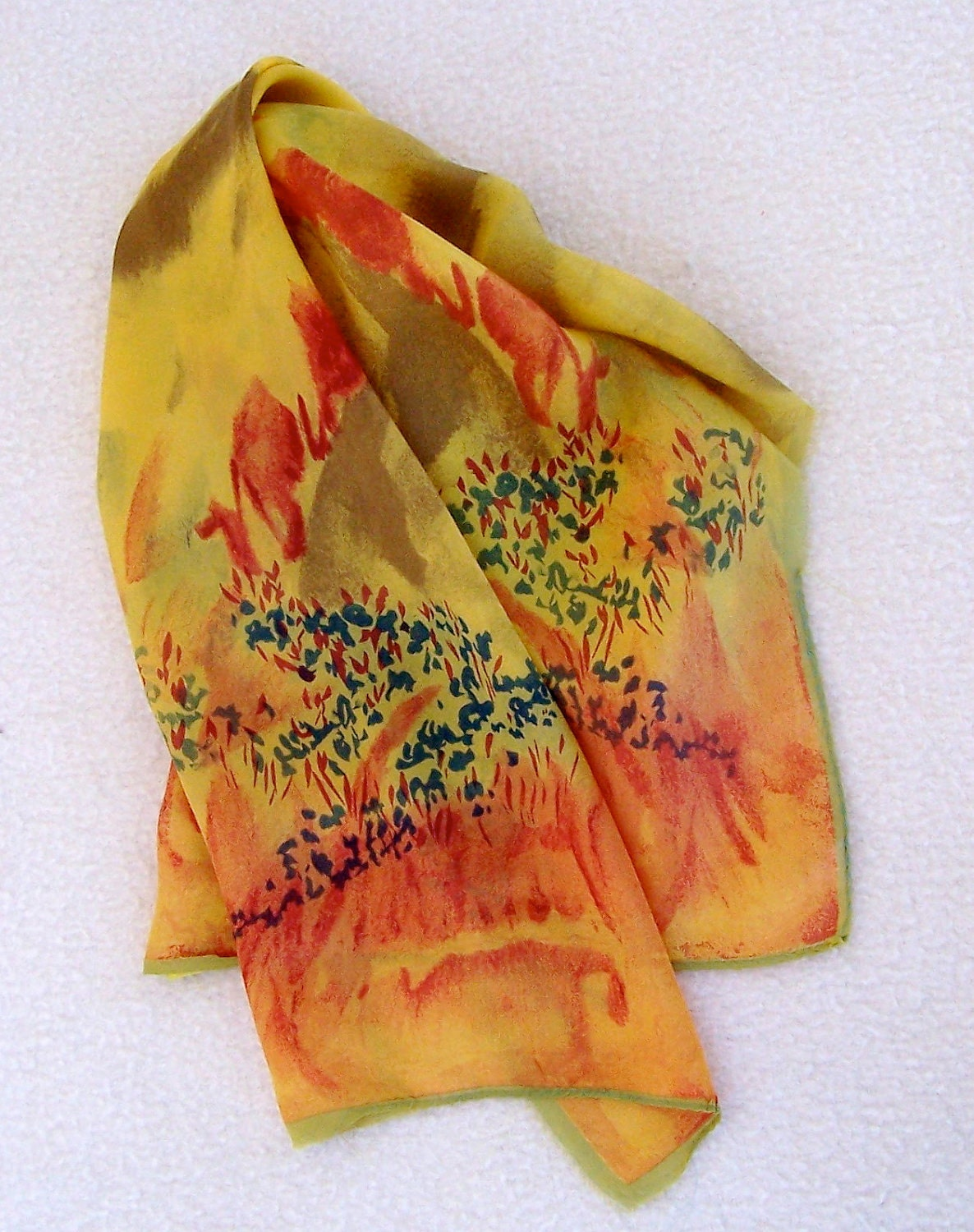Vintage SILK VERA Scarf Long watercolor effect warm by dyenah Vintage Silk Scarves