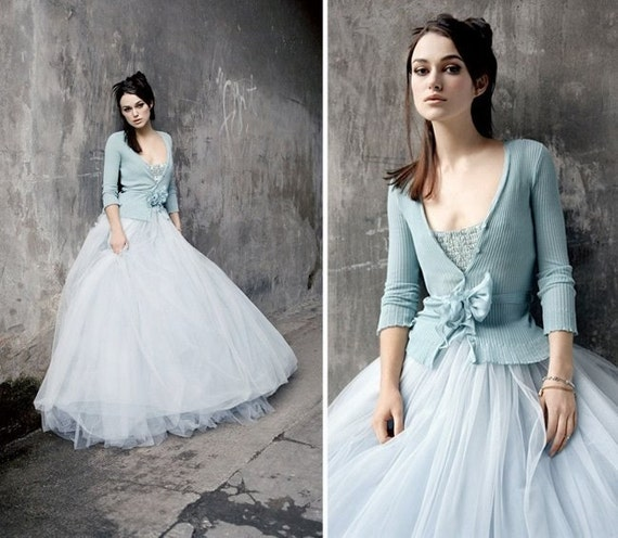 Keira Knightley Inspired  Blue Wedding Dress