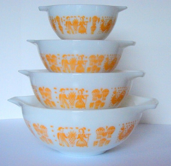 Rare and Vintage Pyrex Orange Yellow Butterprint Cinderella Complete Bowl Set