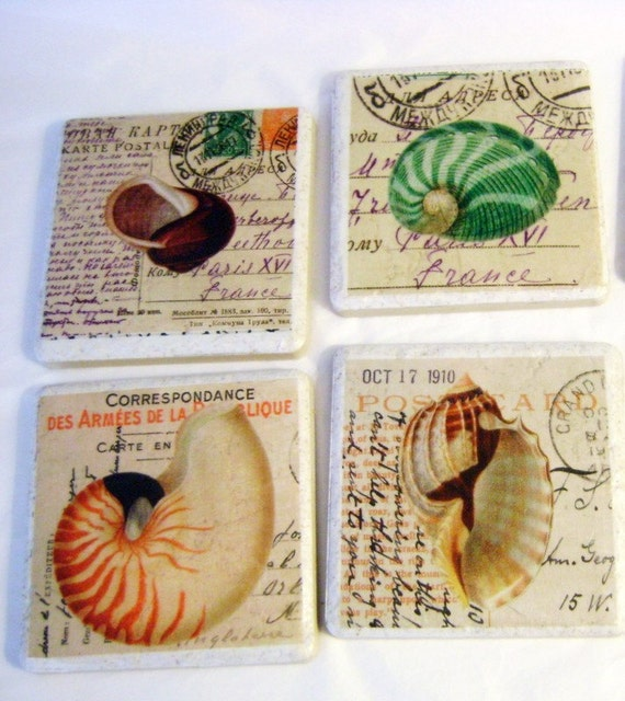 Seashell on French Vintage Postcard Tile Coasters/Trivets Set of 4