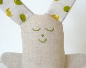 Easter Bunny soft toy softie. Linen and green bean with yellow ducks fabric. - edwardandlilly