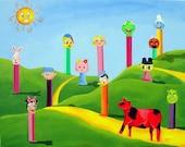 Cow Art Pez candy charlie brown minnie mouse shrek donald duck Signed matted Fine Art Print - RisingStarArt