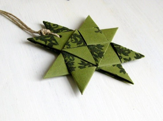 Star ornament handmade origami stylish green xmas