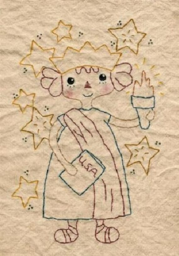 America Lady Liberty Stitchery PDF Pattern 3 in 1 - old bobbin embroidery kitty cat patriotic