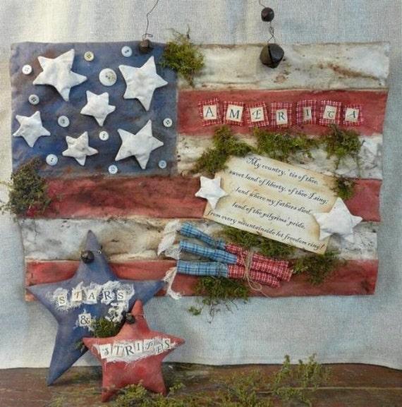 prim America patriotic Stars Stripes Flag PDF pattern -  primitive grubby grungy vintage like firecracker americana 4th of July