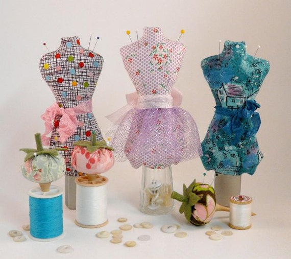 Mini Mannequin & Tomato pincushion PDF Pattern - Pin Keep email eco-friendly pinkeep cushion