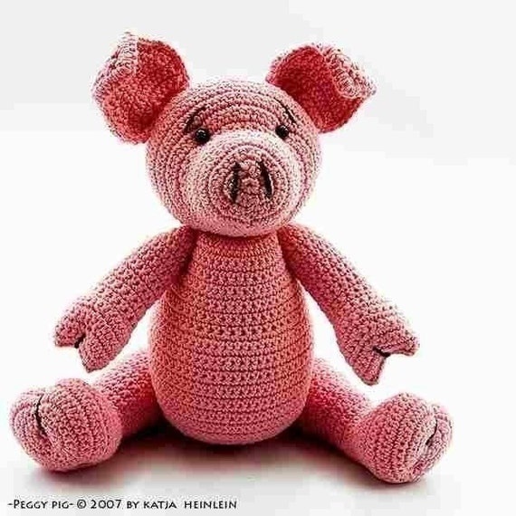 Peggy Pig crochet pattern, PDF tutorial