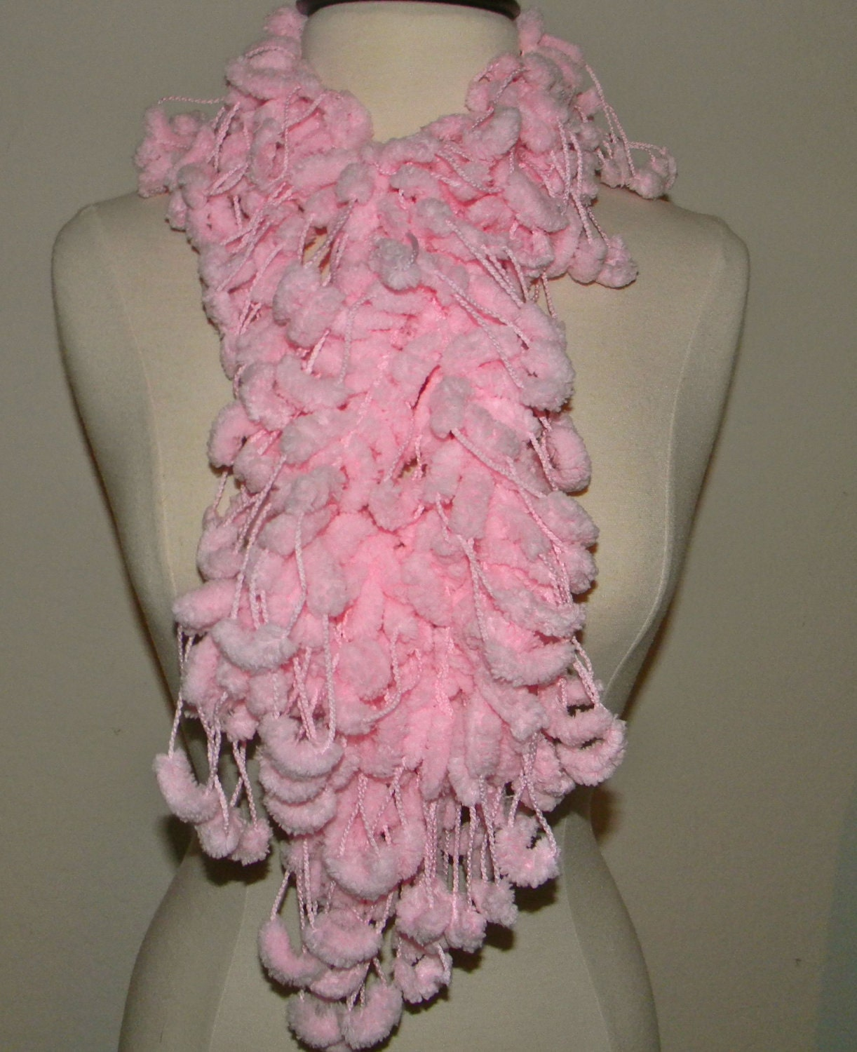 Handmade Scarf or cowl extra long crochet in pink loopy scarf Handmade Scarves Ireland