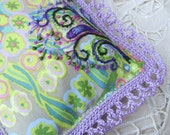 Purple Lavender Sachet, embroidered, crochet lace edging - windyriver