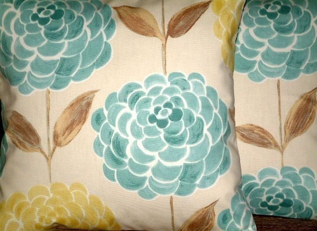 2 x 16 Modern Contemporary Duck Egg Blue by MARIESCOSYCUSHIONS