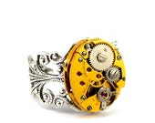 Steampunk Ring - Charming Vintage Gold Tone Clockwork Design - Promptly Shipped Steampunk Jewelry By London Particulars
