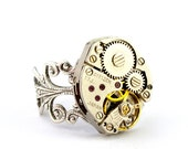 Steampunk Ring - Charming Vintage Clockwork Design - Promptly Shipped Steampunk Jewelry by London Particulars