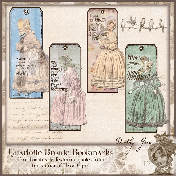 Jane Eyre Bookmarks Gifts for her Charlotte Bronte Quotes