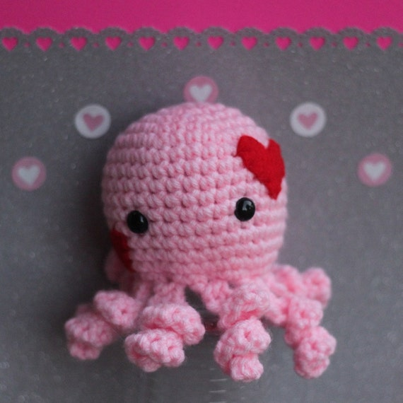 Pink Octopus Plush Crocheted Amigurumi Stuffed Animal with Red Hearts