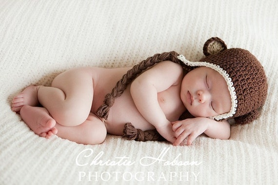 Monkey Hat, Crochet Baby Hat, Photography Prop, 3 to 6 Months, Baby Girls Baby Boys Hats, Chocolate Brown Baby Monkey Hat, Photographer Prop