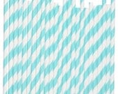 50 Baby Blue/ Aqua White Striped Paper Straws - Parties, weddings, graduations  FREE DIY Flags - catang