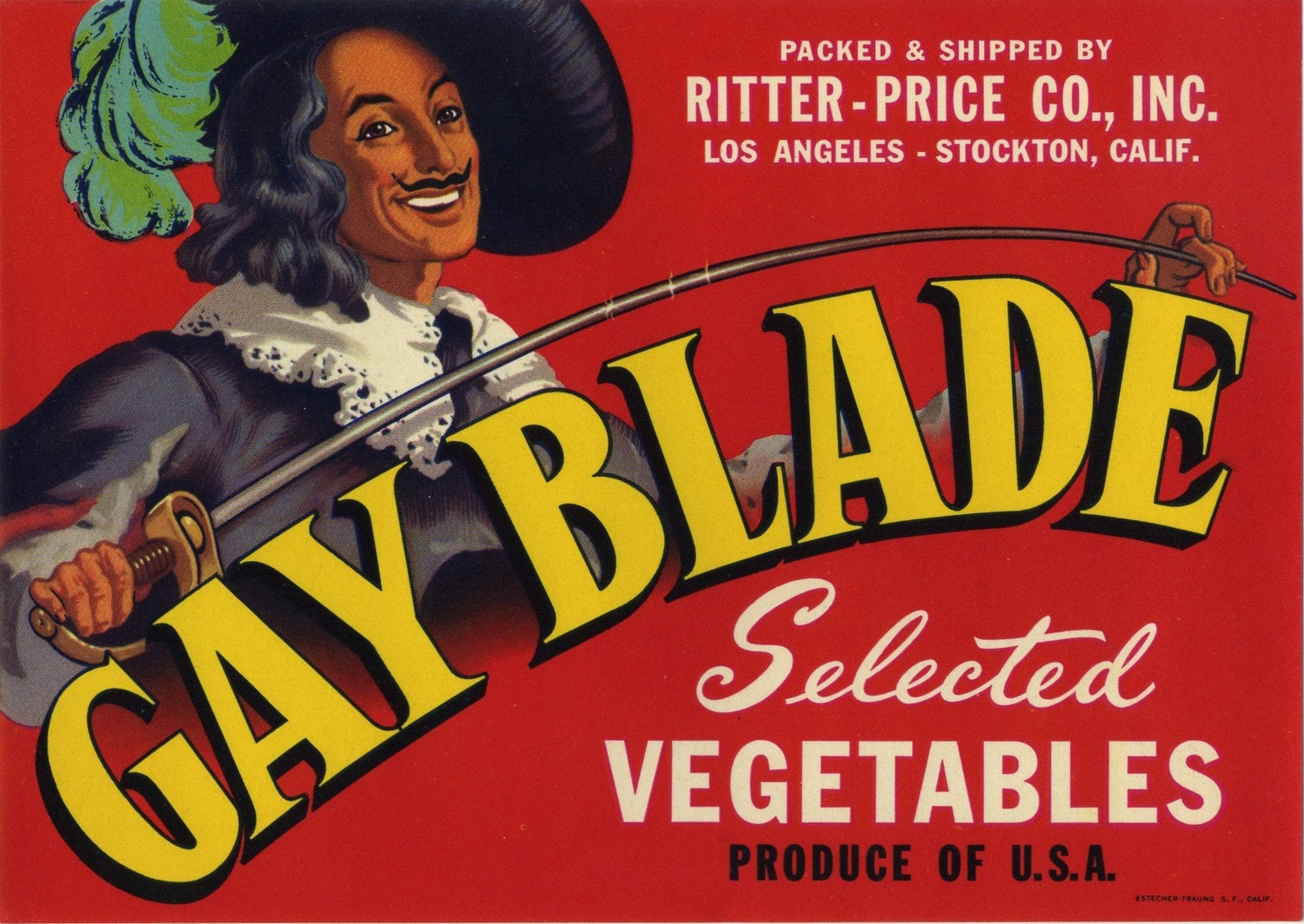 GAY BLADE VEGETABLE CRATE LABEL DESCRIPTION: A very nice label with an image ...