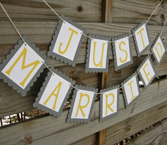 Wedding Banner - Just Married - Grey and Yellow