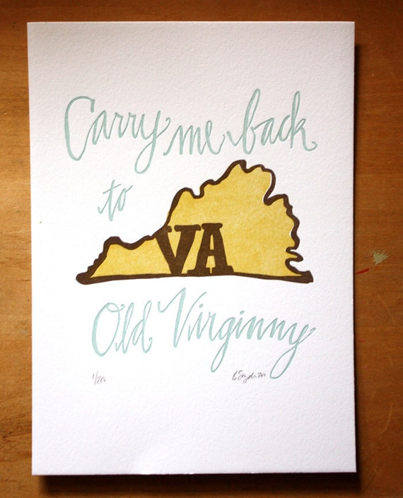 Virginia State Series Letterpress Print