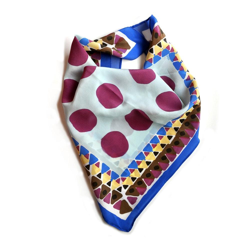 SALE Purple Polkadots Handmade Silk Scarf by prettypennydesigns Handmade Scarves For Sale Online