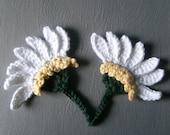 Crocheted HALF DAISY Flower Embellishments - In WHITE