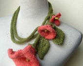 Knit Lariat - CORAL DREAMS / Fiber Art Necklace - Handmade Wedding