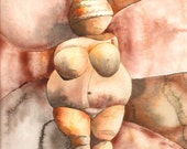 "Venus of Willendorf, 8"" x 10"", Print of Watercolor"