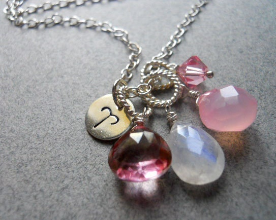ARIES Pink Cluster Zodiac Necklace - $65.00 USD