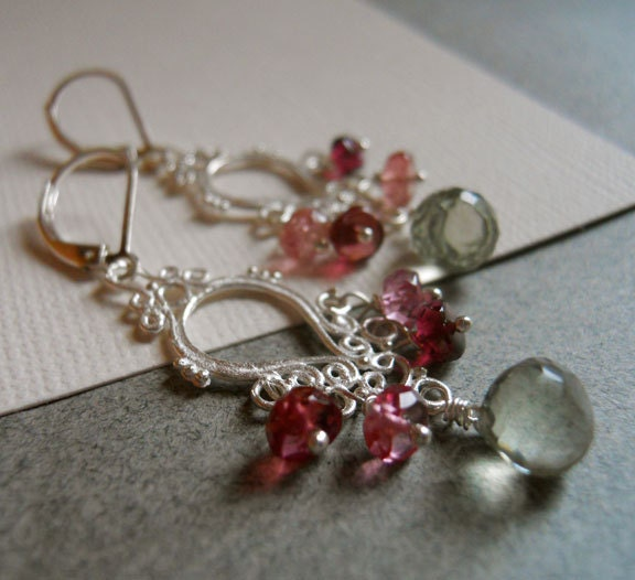 The look was in her eyes Green Amethyst and Pink Tourmaline chandelier earrings : Collection - $85.00 USD