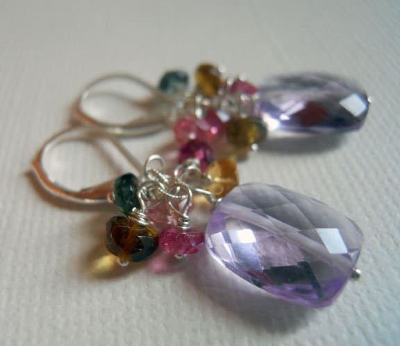 SALE was 135 NOW 105 Spring Fling Amethyst and Tourmaline cluster earrings : Shirzay Collection - $105.00 USD