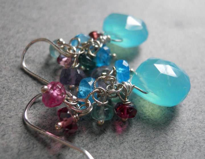 Poolside chalcedony, tourmaline and apatite cluster earrings: Shirzay Collection - $68.00 USD