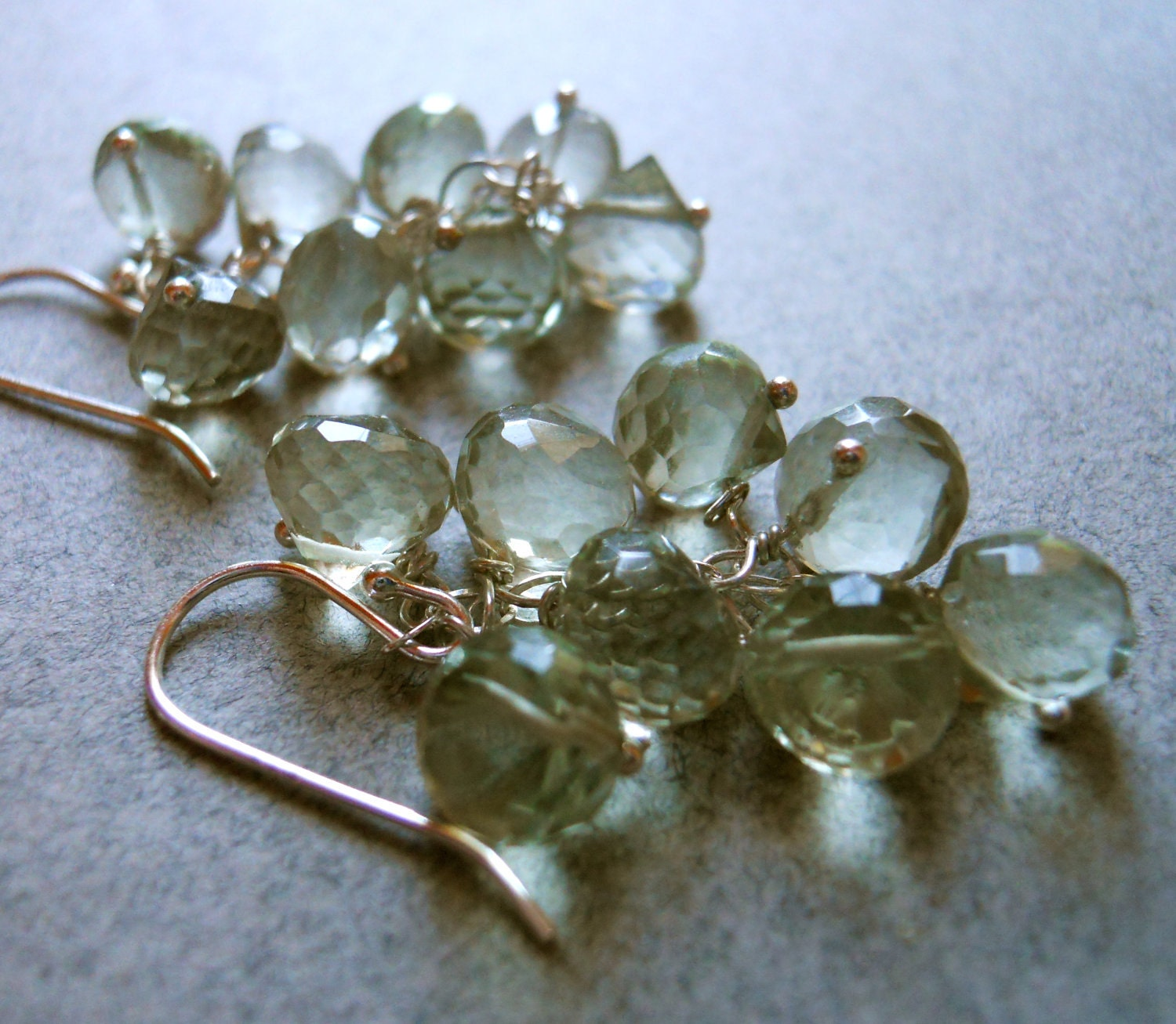 Green amethyst Green Eyed Glamour Girl earrings - $59.00 USD