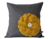 Mustard Yellow Felt Flower PILLOW COVER Charcoal Gray Linen with Cream Ceramic Button by JillianReneDecor Fall Home Decor Gift Under 50 - JillianReneDecor