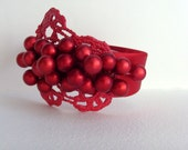 Red Winter Berries Headband - Head Piece Fashion // Cranberry Red Metallic Berries // Red Metallic Lace // Red Satin