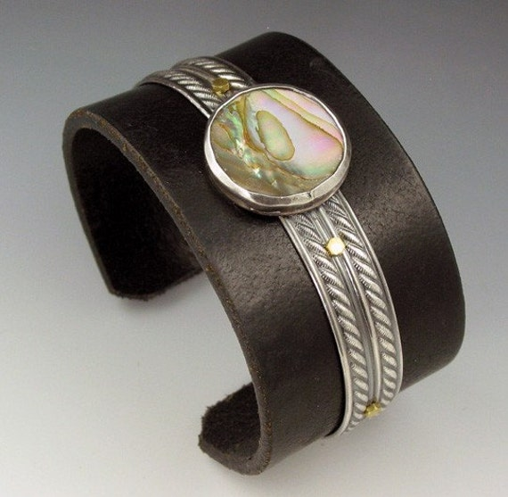 Large Sterling Silver and Black Leather Abalone Cuff