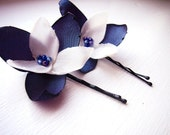 LAST SET - Night by the sea - 2 navy blue and ivory tafetta hair pins . spring summer design by MGMart
