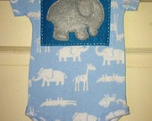 Elephant on Turquoise Blue on Blue Animal Print Baby Bodysuit (size 6m) - FELTITNYC