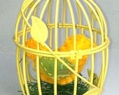 Yellow Bird in Mini Yellow Bird Cage - FELTITNYC